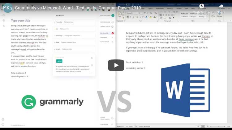 Grammarly vs Word