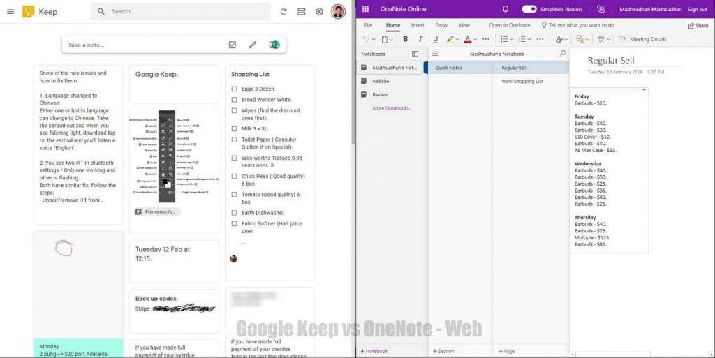 Google Keep and OneNote - Web