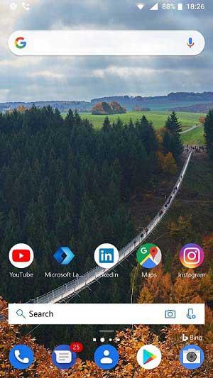 Screenshot of Microsoft Launcher Home Screen