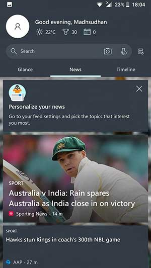 Screenshot of Microsoft Launcher Your Feed