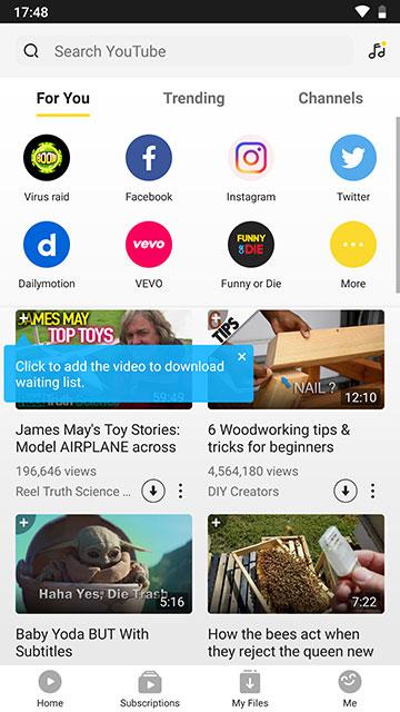 Screenshot of Snaptube