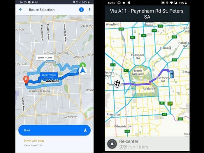 Sygic vs Waze - Interface