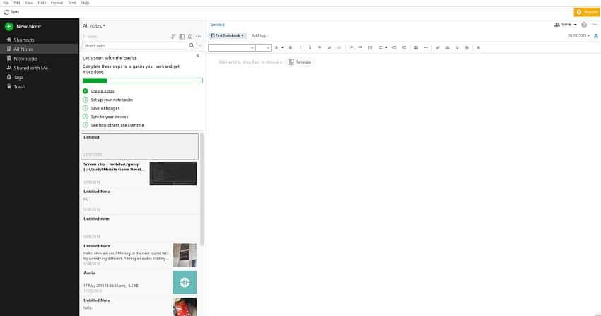 Screenshot of Evernote Desktop