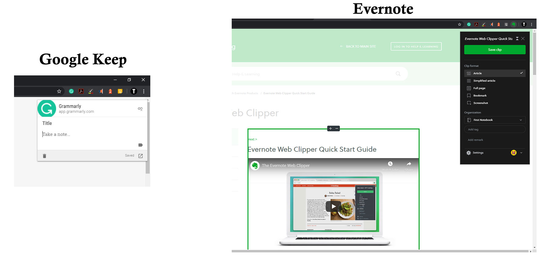 Extensions - Google Keep vs Evernote