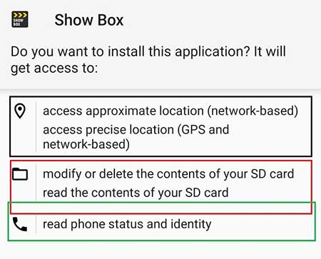 Screenshot of Permissions in Showbox App