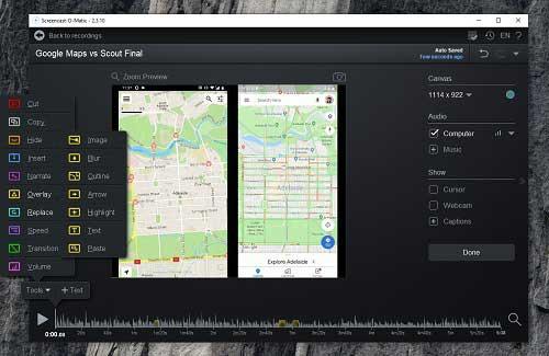 Screenshot of Screencast-O-Matic Video Editor