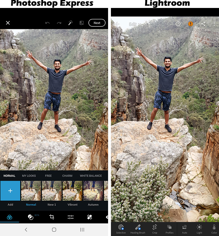 Interface of Photoshop Express and Lightroom Mobile