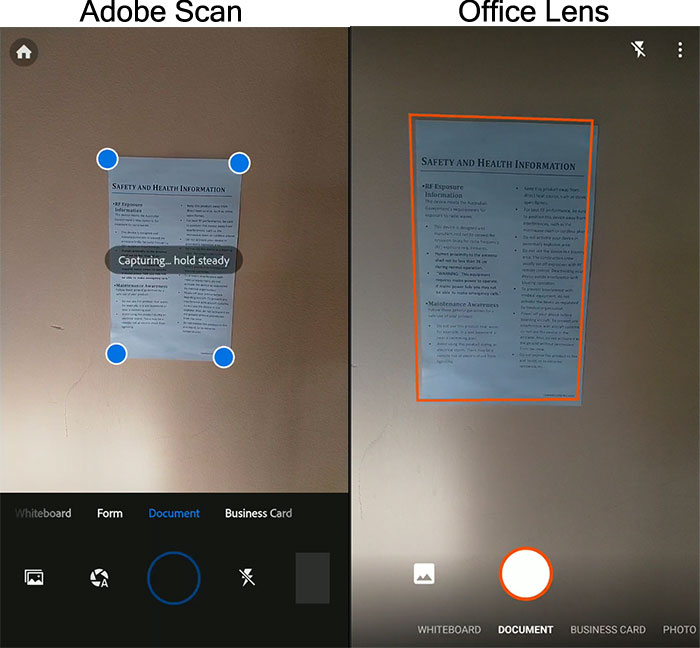 Capturing Adobe Scan and Office Lens