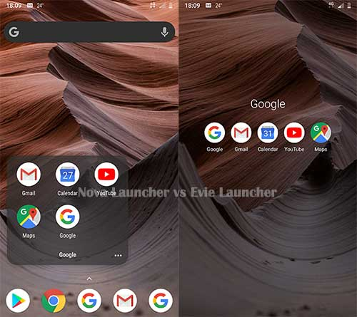 Screenshots of Folders of Nova and Evie Launcher Apps