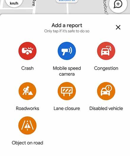 Screenshot of Google Maps Reporting Features