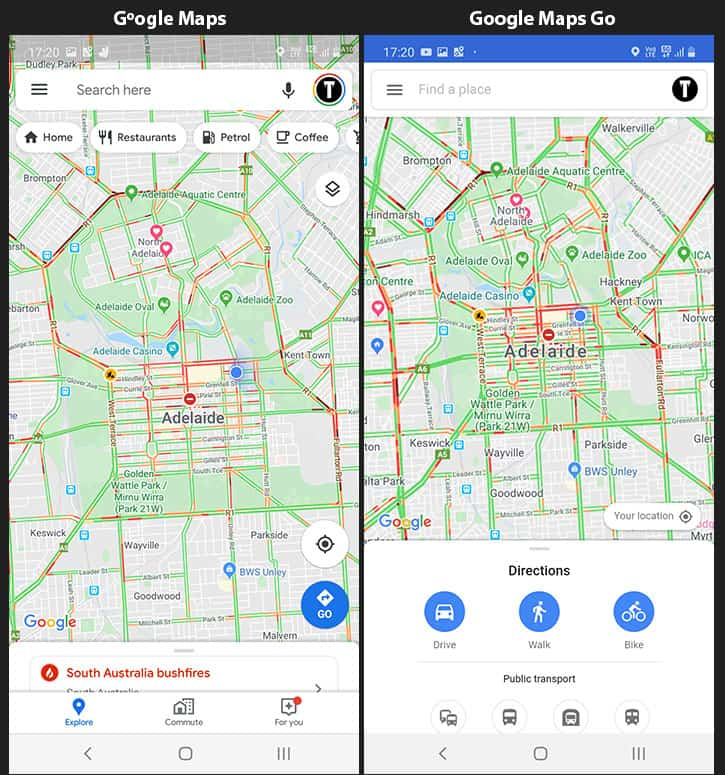 Screenshots Showing Interface in Google Maps and Maps Go