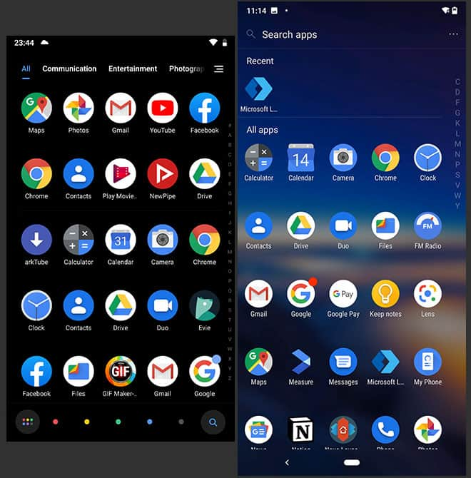 POCO Launcher and Microsoft - App Drawer