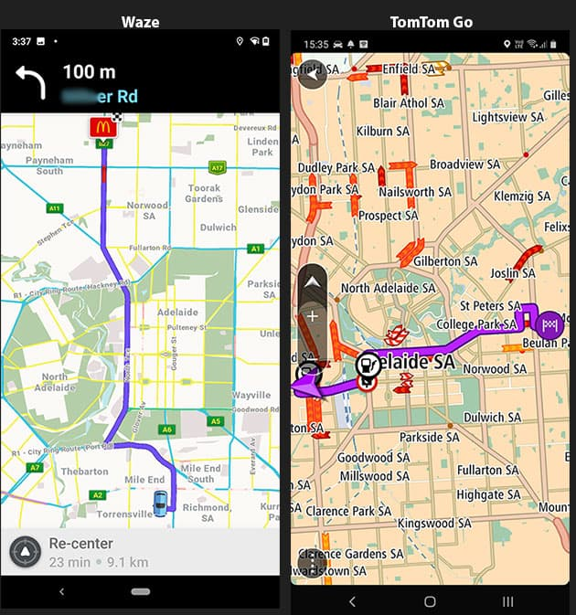 Screenshots of Routing in Waze and TomTom Go