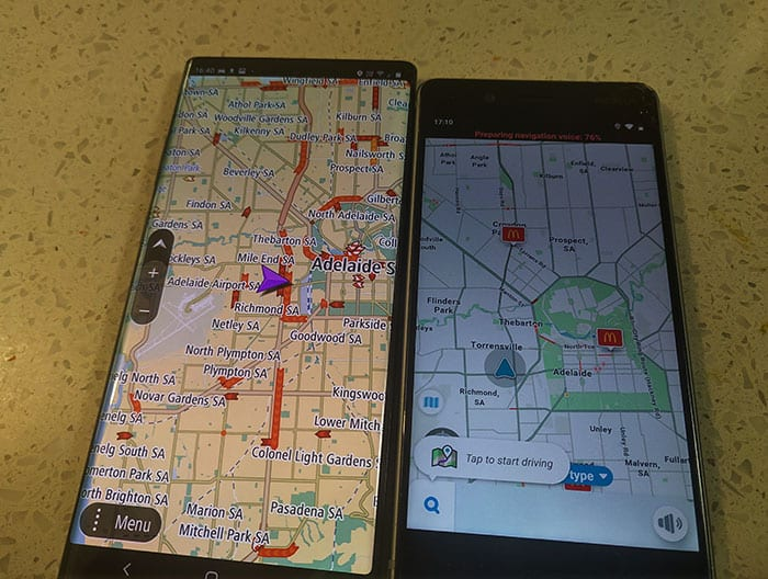 Image Showing Waze and TomTom Go