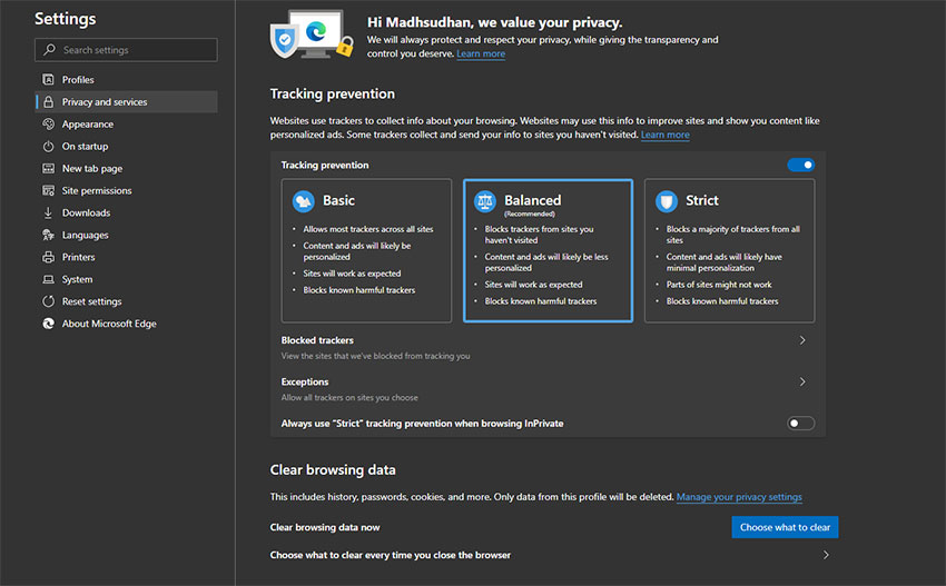 Tracking Protection in Microsoft Edge Chromium
