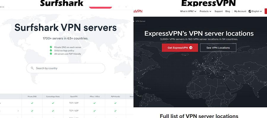 Server Comparison of Surfshark and ExpressVPN