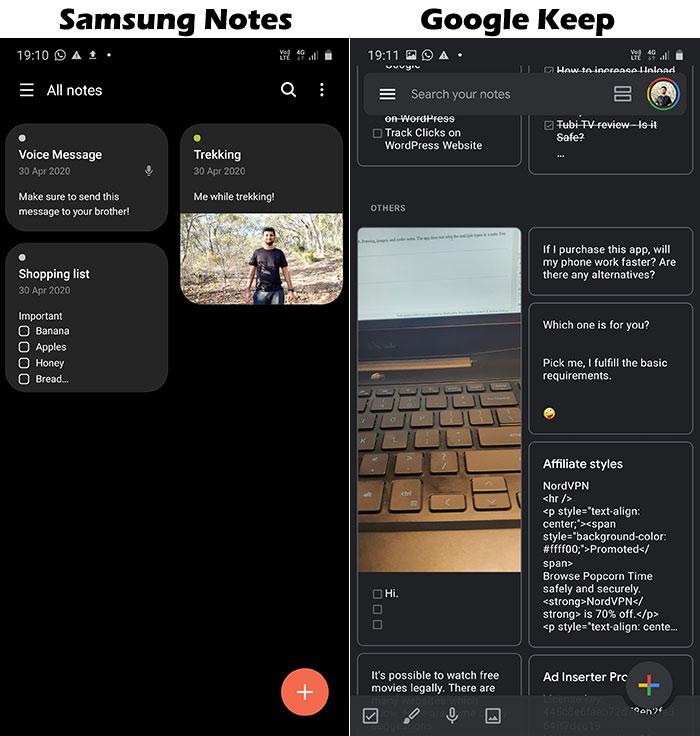 Interface - Samsung Notes vs Google Keep