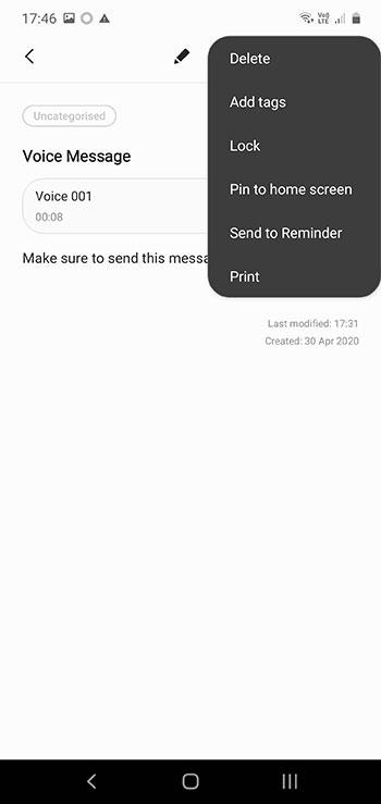 Samsung Notes Reminder Option