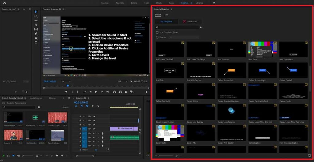 Adobe Premiere Pro Graphics Workspace