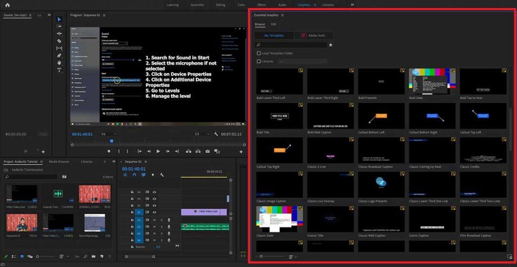 Adobe Premiere Pro Graphics Workspace