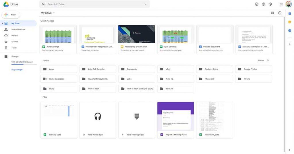 Google Drive PWA Interface