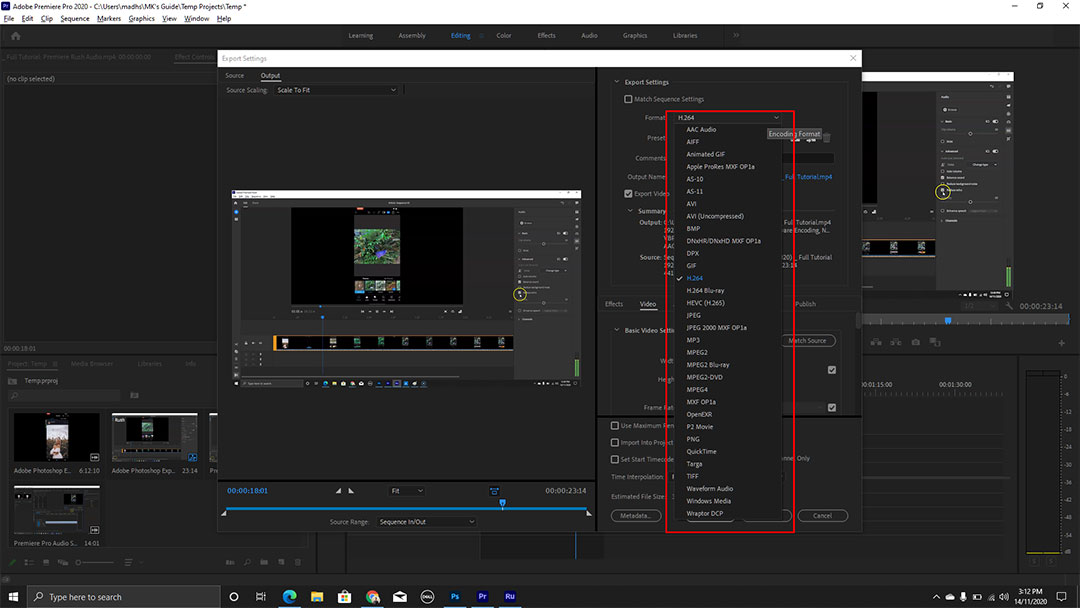 Premiere Pro Exporting Options