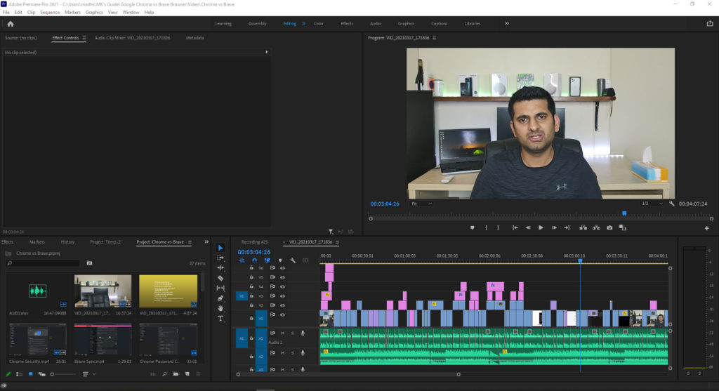 Premiere Pro Editing Workspace