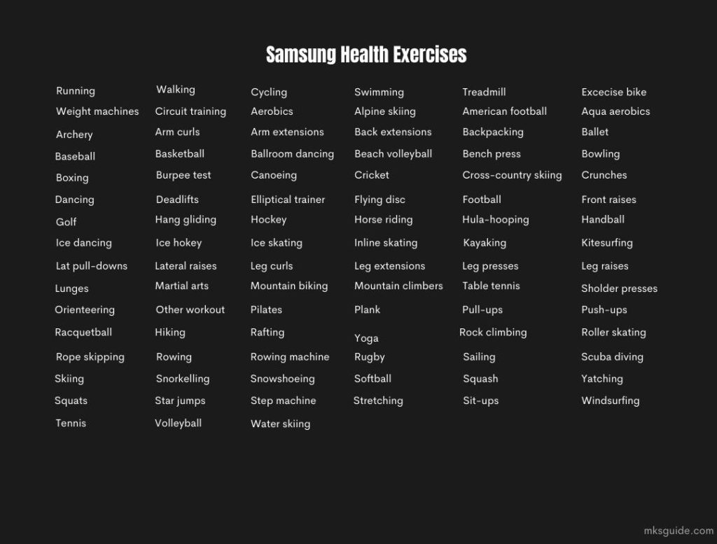 Samsung Health All Exercises