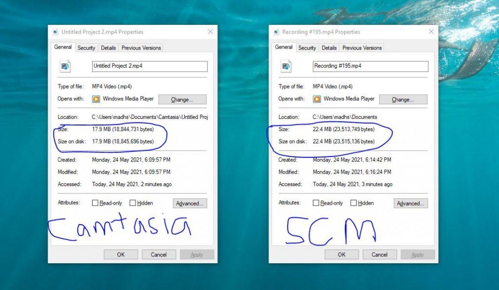 Camtasia vs Screencast-O-Matic Browser File Size