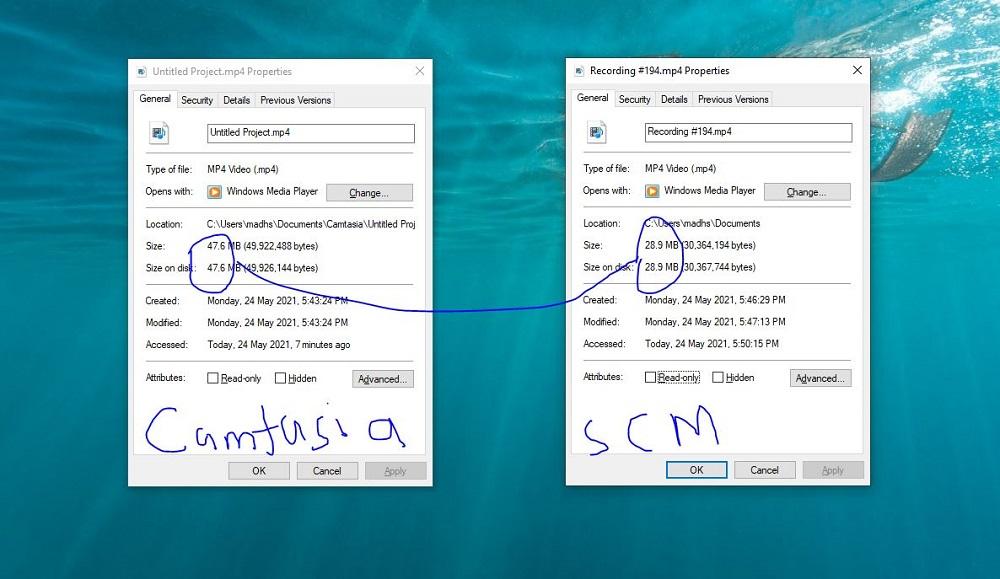 Camtasia vs Screencast-O-Matic Gameplay File Size
