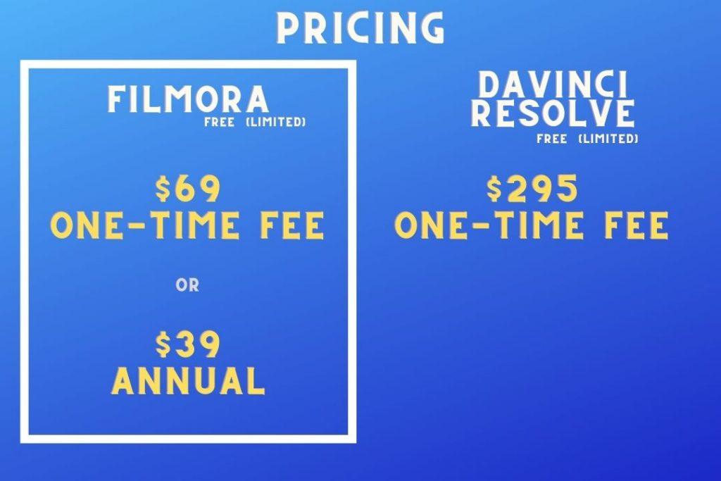 Filmora vs DaVinci Resolve - Pricing