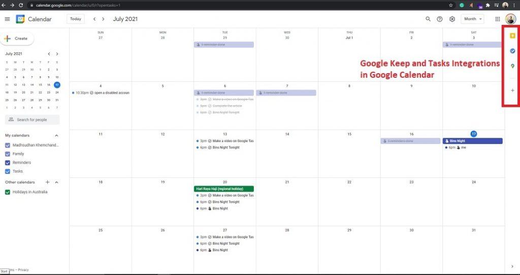 Google Keep and Tasks Integration in Google Calendar