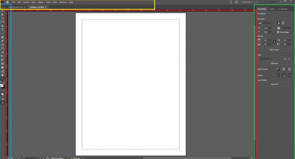 Adobe InDesign Main Interface