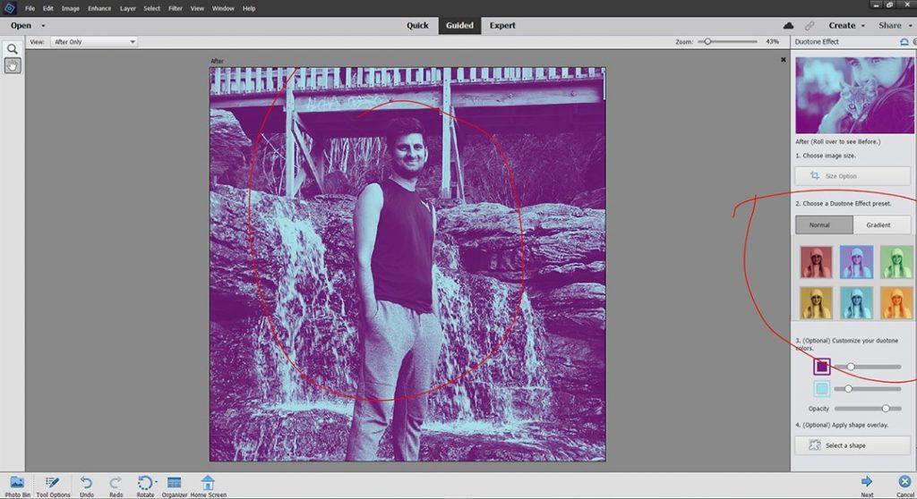 Photoshop Elements Duotone Effect