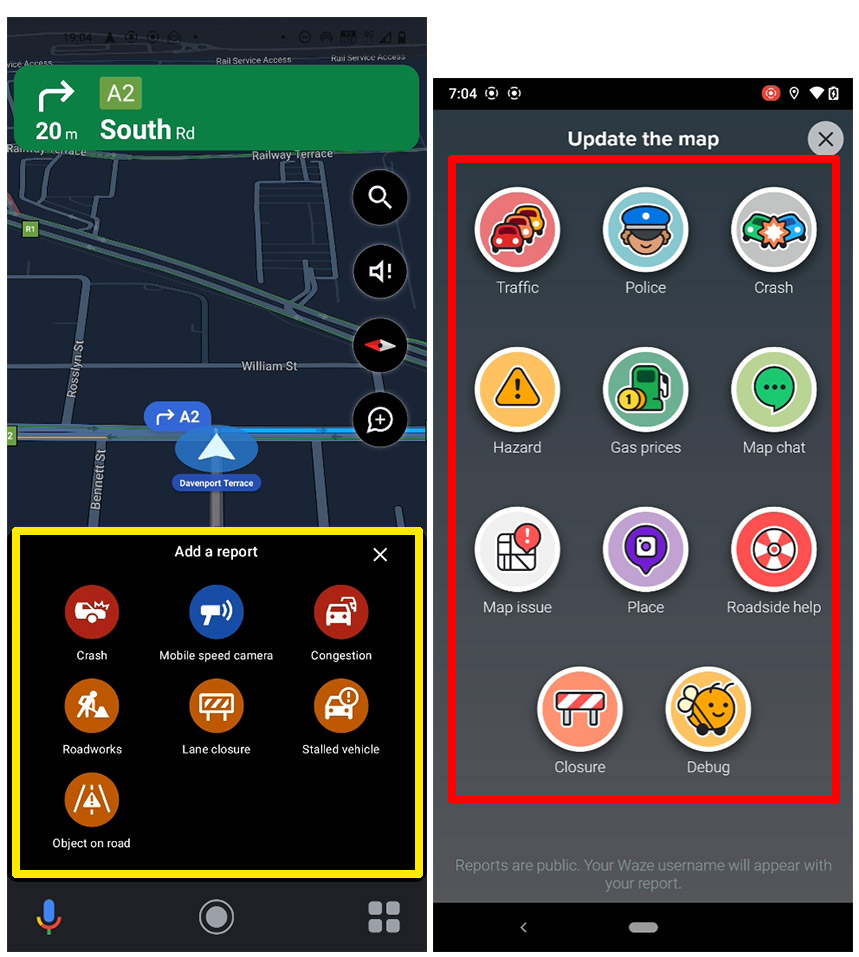 Reporting Tools in Google Maps and Waze