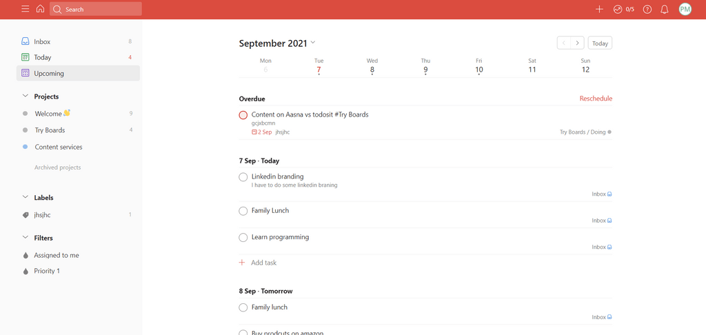 Todoist Upcoming To-Do List